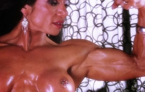 A very buff Marina Lopez flexing her muscles